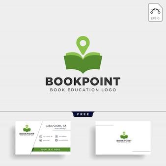 Marcatore pin libro o mappa semplice mappa di navigazione logo