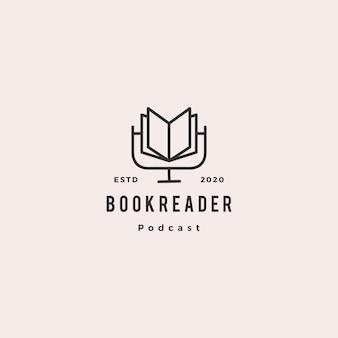 Prenota podcast logo hipster icona retrò vintage per libro blog video vlog recensione canale Vettore Premium