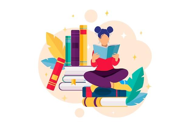 Concetto di lettura del libro concetto di educazione della biblioteca happy book day pile di libri e ragazza che legge