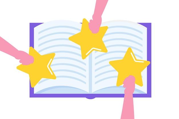 Recensione del libro, concetto di club di lettura. illustrazione vettoriale