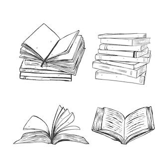 Illustrazione del set di libri in stile disegnato a mano