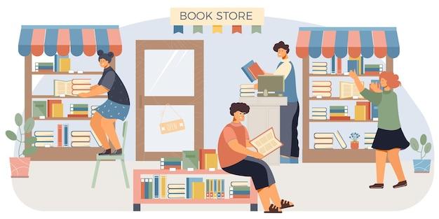 Composizione piatta nel negozio di libri quattro persone in un negozio di libri stanno sugli scaffali e leggono le illustrazioni