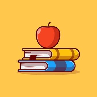 Disegno dell'illustrazione vettoriale della pila di libri con la mela in cima