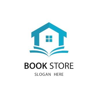Modello di logo del negozio di libri