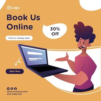 Prenotaci il design del banner online con l'uomo del salone mostra un laptop per la prenotazione online