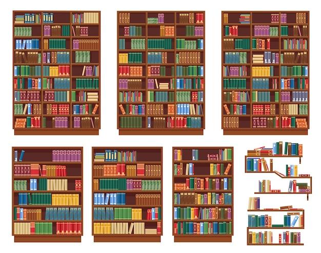 Libreria, libreria con libri, scaffali della biblioteca, icone di rack isolato. librerie in legno o scaffali per libri, libreria classica vecchia, libreria o scaffali di libreria con pile di libri in piedi