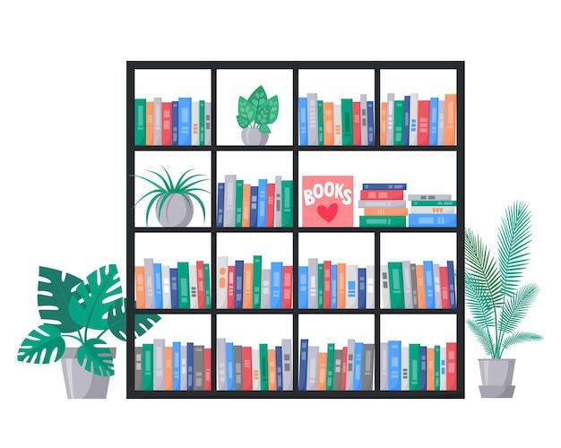 Libreria con collezione di libri sugli scaffali pile di libri colorati interni con piante domestiche