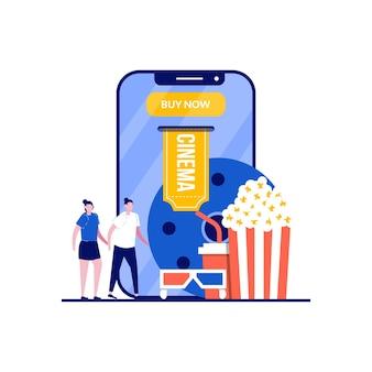Prenotazione biglietti per il cinema online con coppia in piedi vicino a elementi del cinema.