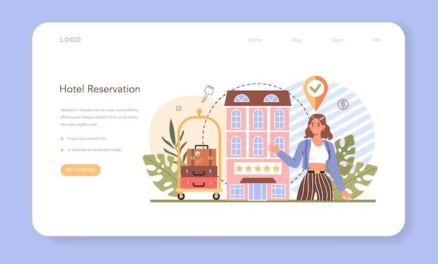 Prenotazione di un banner web di un hotel o di una pagina di destinazione per la pianificazione dei viaggi e del turismo