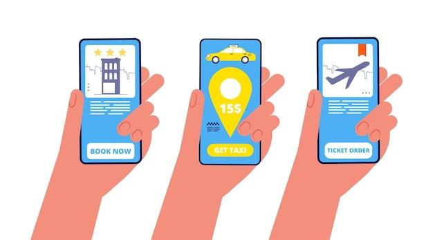 Prenotazione on line. mani che tengono i telefoni con illustrazione vettoriale di diverse applicazioni di viaggio. prenotazione ordine hotel e taxi, volo aereo