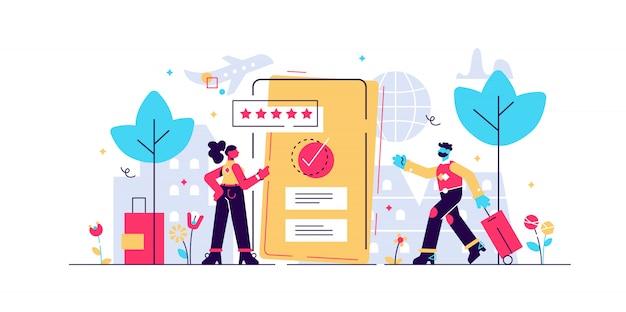Prenotazione illustrazione online. concetto di mini persona piatta con conferma elettronica dell'acquisto. hotel, resort, biglietto aereo o riserva assicurativa a distanza per viaggi turistici vacanze.