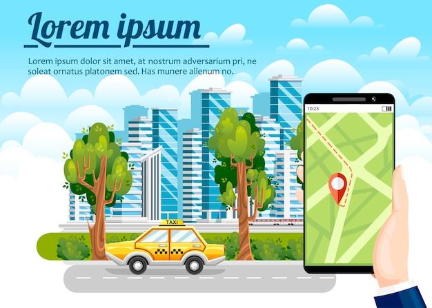 Prenotazione taxi tramite app mobile. grattacieli della città, aeroplano, mongolfiera e automobili sullo sfondo. . concetto di città moderna con posto per il testo.