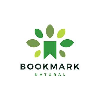 Segnalibro naturale foglia albero logo icona illustrazione vettoriale Vettore Premium