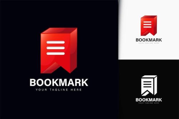 Segnalibro nota logo design con gradiente