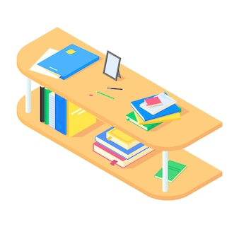 Libri e cancelleria sullo scaffale per libri in legno marrone in isometrico