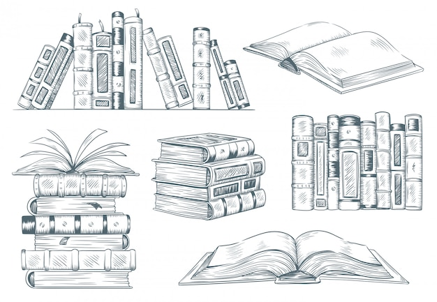 Incisione di libri. il libro aperto dell'annata incide lo schizzo disegnato. illustrazione del manuale della lettura dello studente del disegno della mano