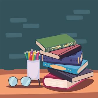 Icone di alfabetizzazione di libri e occhiali