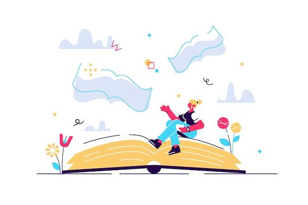 Messaggio di libri come significato della letteratura e idea morale dell'autore concetto di piccola persona