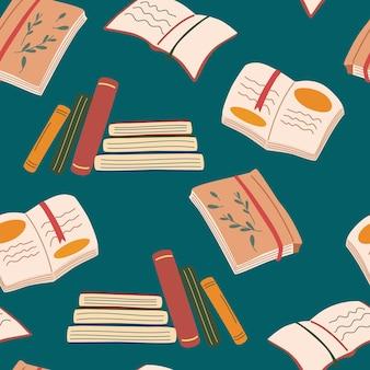 Modello senza cuciture di libri. biblioteca, libreria. libro aperto, taccuino con un segnalibro, pila di libri. per carte da parati, confezioni, tessuti, tessuti, decorazioni, stampe, cartoline. lettura illustrazione vettoriale a tema.
