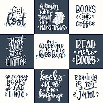 Set di libri poster di tipografia disegnati a mano. frase scritta concettuale t-shirt con lettere a mano design calligrafico. vettore ispiratore