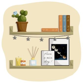 Libri sullo scaffale foto in cornice sulla parete candele per la decorazione diffusore in vasi da fiori in camera