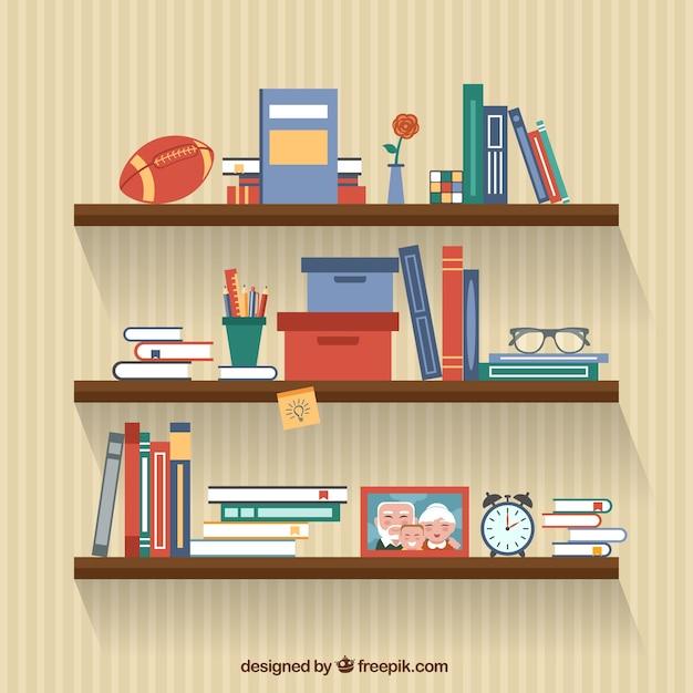 Libri sugli scaffali Vettore Premium