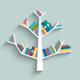 Libreria in forma di albero con libri colorati