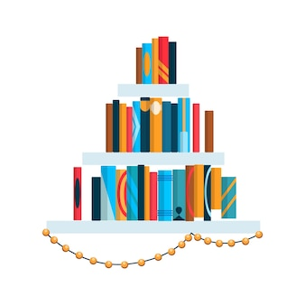 Scaffale con libri colorati. torna al concetto di parete studio scuola e istruzione. elemento interno della libreria. illustrazione di libri di lettura piatta