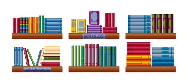 Scaffali di libreria con bestseller e opzioni di vendita scaffale di libreria in stile cartone animato