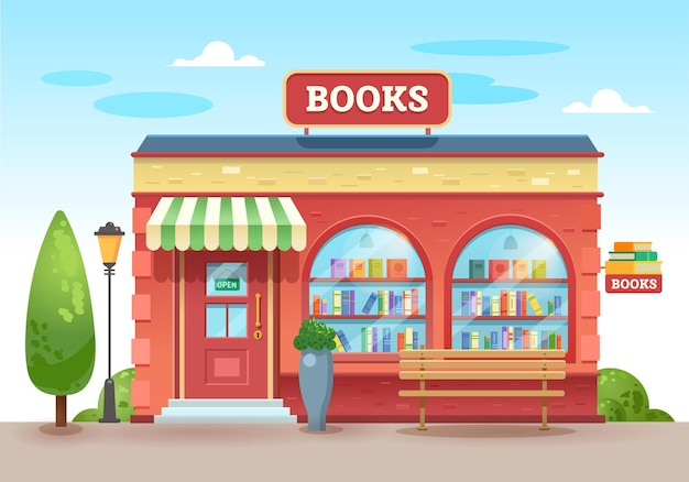 Libreria con visiera sopra l'ingresso. libri in una vetrina sugli scaffali. negozio di strada. illustrazione, stile piatto.