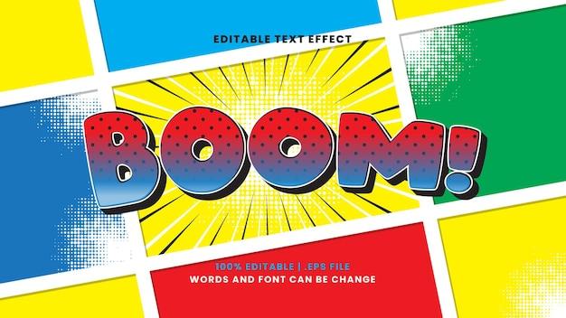 Boom effetto testo comico stile di testo modificabile retrò e vintage
