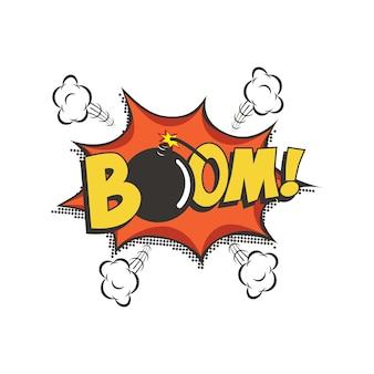 Boom fumetto di testo comico con la bomba.