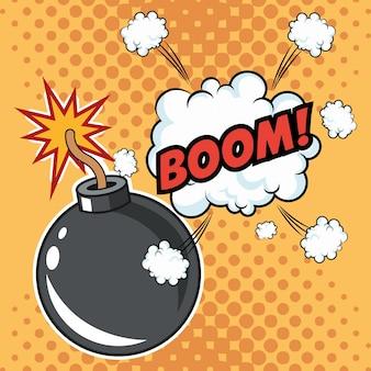 Esplosione boom art pop design comico