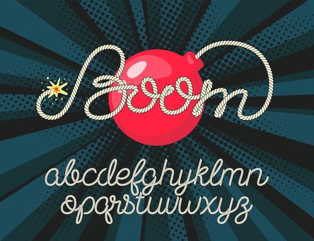 Boom - scritte in corda con bomba su sfondo pop. carattere alfabeto corda