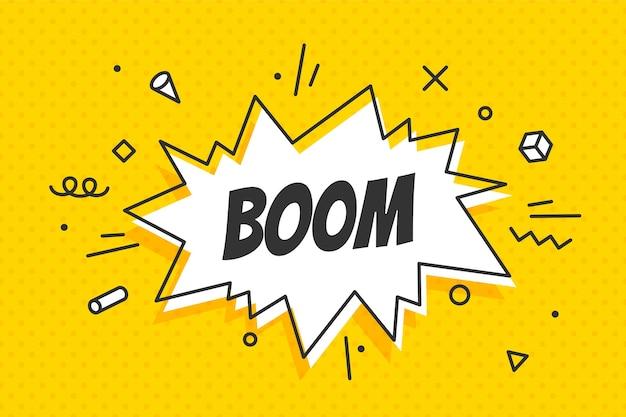 Boom, fumetto. concetto di banner, fumetto, poster e adesivo