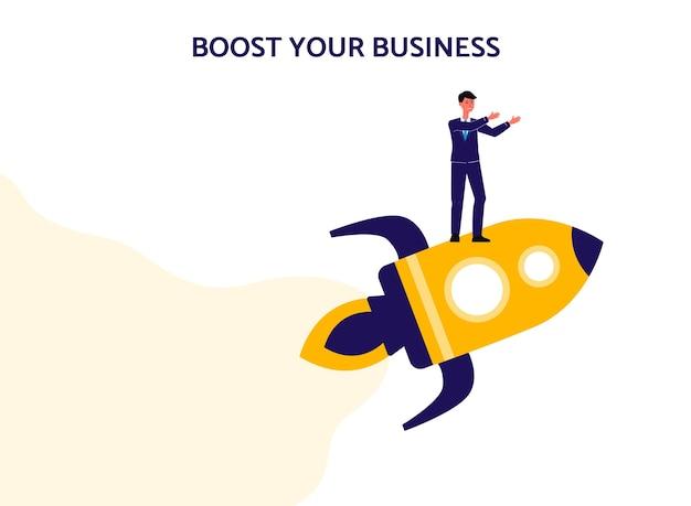 Potenzia il tuo business - banner isolato con uomo d'affari che vola su un razzo.