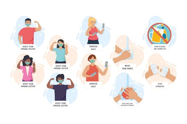 Migliora le raccomandazioni del tuo sistema immunitario con l'illustrazione di persone interrazziali