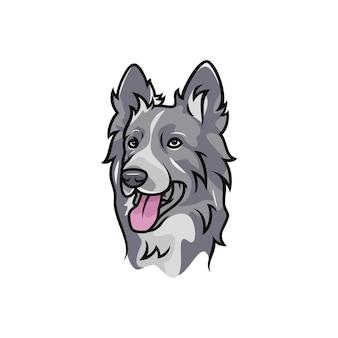 Border collie dog - logo di vettore / mascotte dell'illustrazione dell'icona