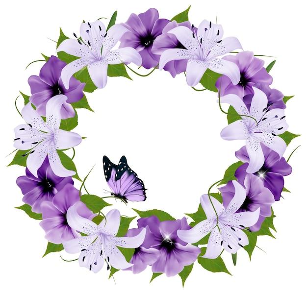 Confine di fiori colorati e farfalle. illustrazione