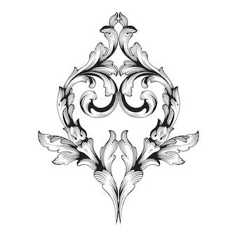 Bordo e cornice in stile barocco. colore bianco e nero. decorazione ad incisione floreale