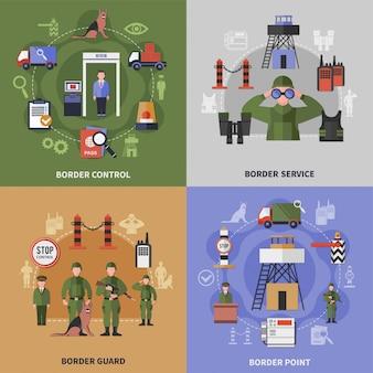 Set di icone di guardia di frontiera