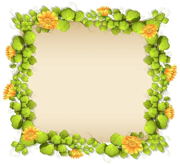 Confine di foglie e fiori gialli