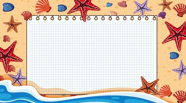Modello del confine con la scena della spiaggia nel fondo