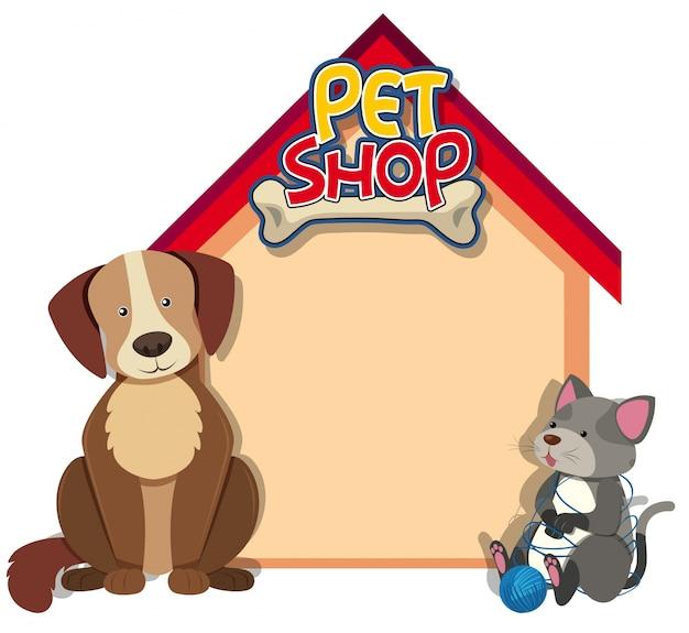 Modello di confine con cane e gatto