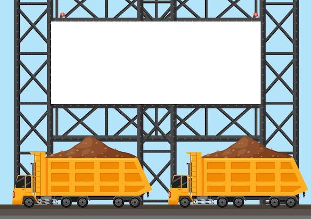 Modello di confine con due camion di camion