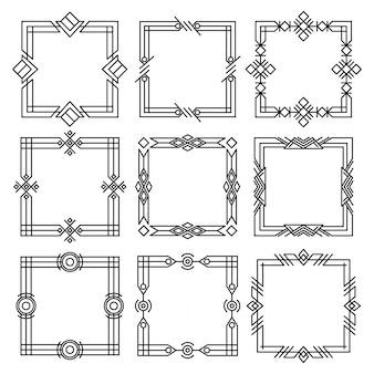Divisori di frontiere. cornici decorative nere. cornici retrò, ornamenti rettangolari vintage e bordo ornato.
