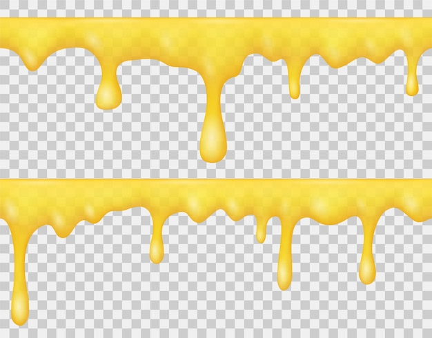 Bordi di miele liquido gocciolante, sciroppo o caramello giallo isolato su sfondo trasparente. insieme realistico di vettore di fusione di miele dorato, salsa o crema dolce. modello senza cuciture di gocce che scorrono