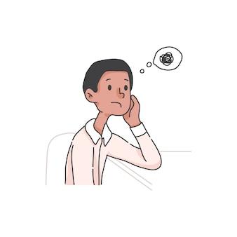Ragazzo annoiato che procrastina il concetto di cartone animato