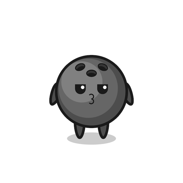 L'espressione annoiata di simpatici personaggi di una palla da bowling, un design in stile carino per maglietta, adesivo, elemento logo