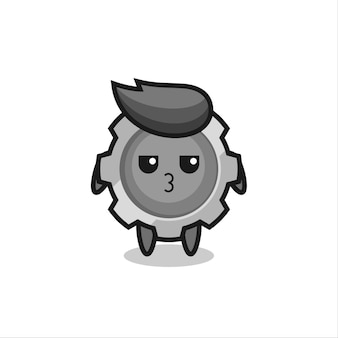 L'espressione annoiata di simpatici personaggi di ingranaggi, design in stile carino per maglietta, adesivo, elemento logo